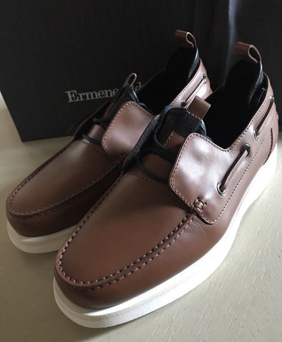 New $695 Ermenegildo Zegna Leather Derby Boat Shoes Brown 7 US ( 40 Eu ) Italy - BAYSUPERSTORE