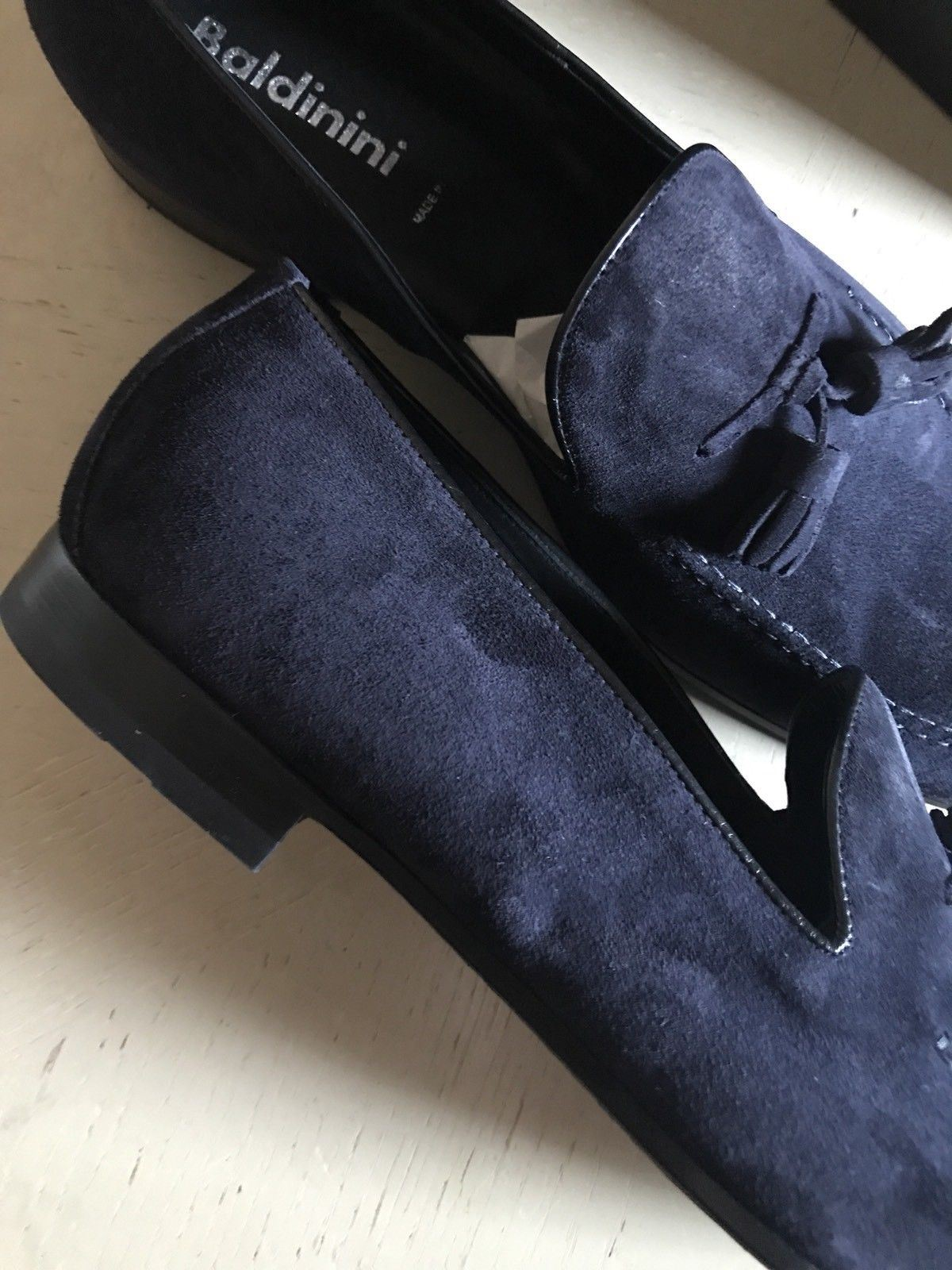 New $670 Baldinini Men's Suede Loafers Shoes Dark Blue 9 US ( 42 Eu ) Italy - BAYSUPERSTORE