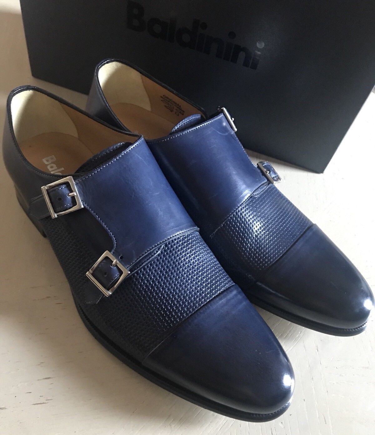 New $640 Baldinini Men's Leather Shoes Blue 10 US ( 43 Eu ) Italy - BAYSUPERSTORE