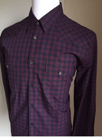 New $845 Gucci Men's Dress Shirt Duke Fit Burgundy 46/18 Italy