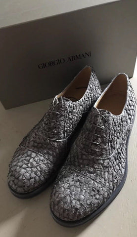 New $1395 Giorgio Armani Mens Fish Skin Leather Shoes Military Green 8 US X2C487 - BAYSUPERSTORE