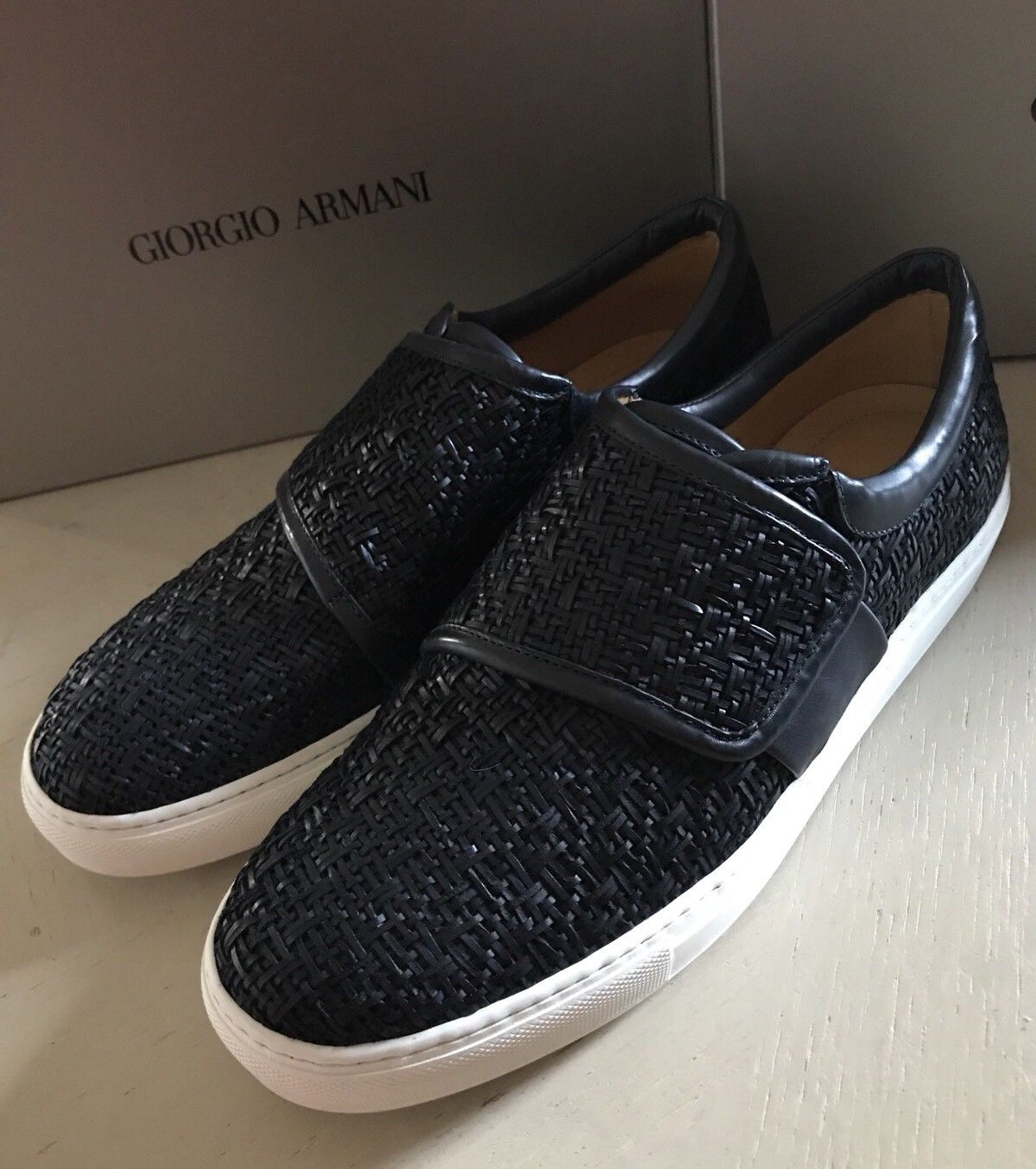 New $1475 Giorgio Armani Mens Leather Sneakers Shoes Dark Blue 11 US 1J085 Italy - BAYSUPERSTORE