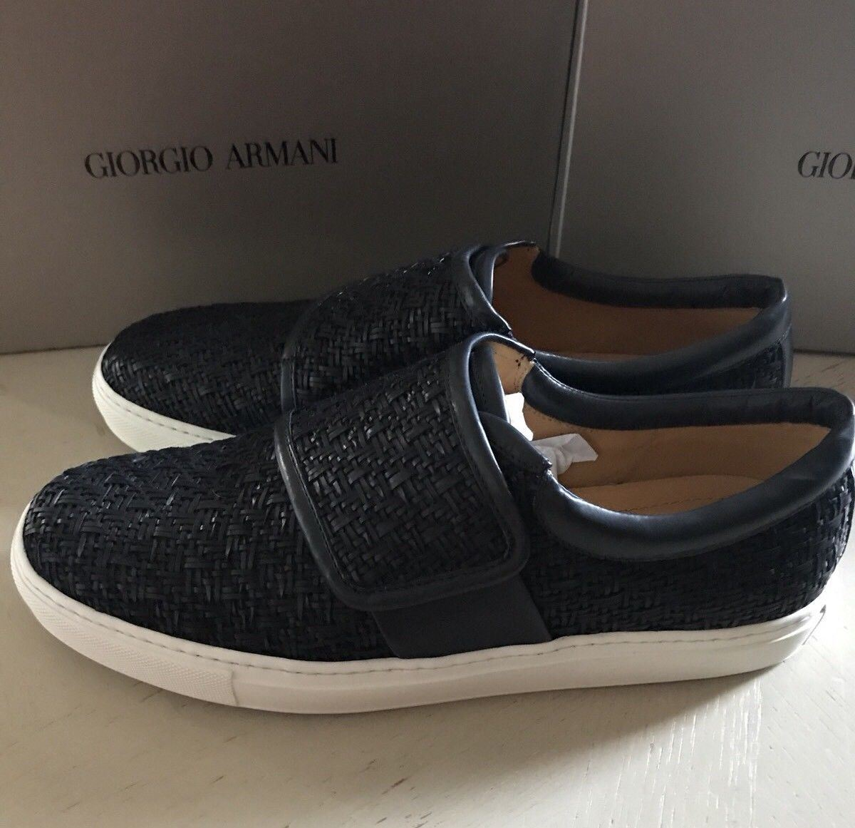 New $1475 Giorgio Armani Mens Leather Sneakers Shoes Dark Blue 7 US 1J085 Italy