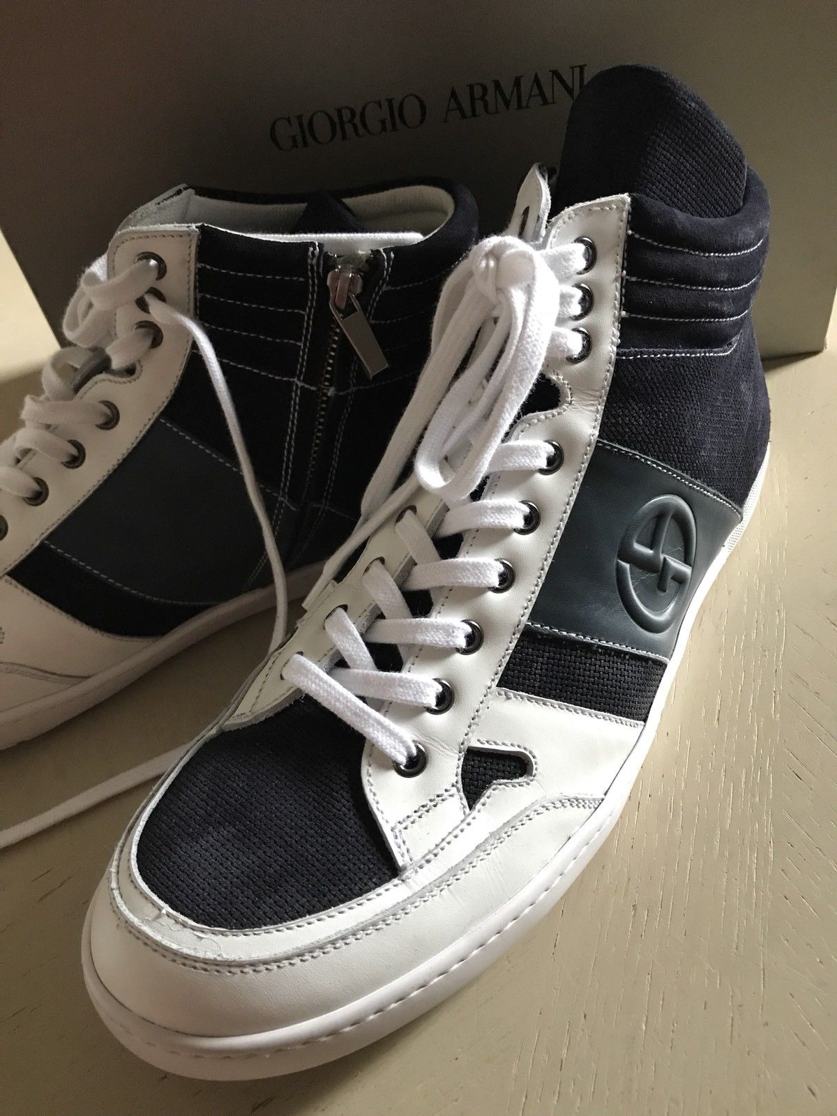 New $795 Giorgio Armani Mens Leather High Top Sneakers Black/White 12 US  X2Z005 - BAYSUPERSTORE