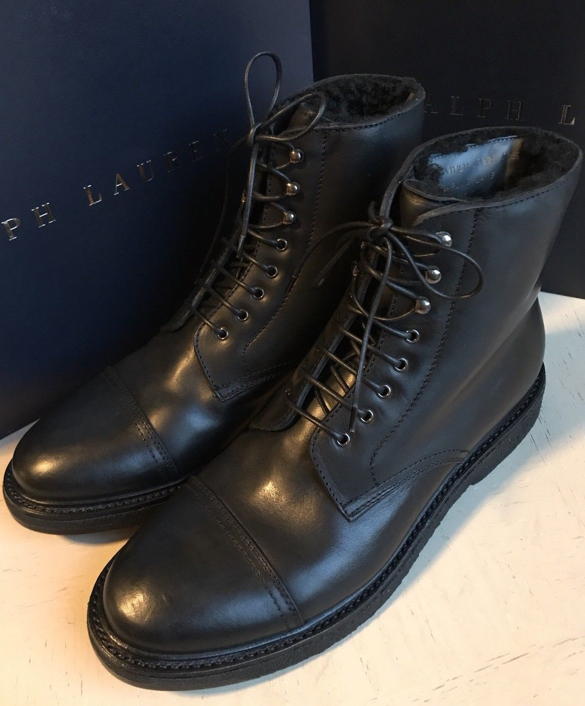 New $1100 Ralph Lauren Purple Label Mens Shearling Lined Boots Shoes Black 10 US - BAYSUPERSTORE