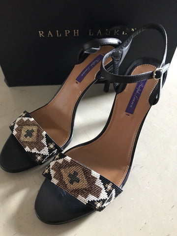 NIB $675 Ralph Lauren Purple Label Women Sandal Shoes Black / Brown 9.5 US - BAYSUPERSTORE