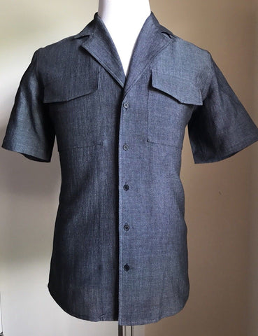 NWT $590 Bottega Veneta Mens Short Sleeve Shirt Midnight Blue XS US ( 46 Eu ) It - BAYSUPERSTORE