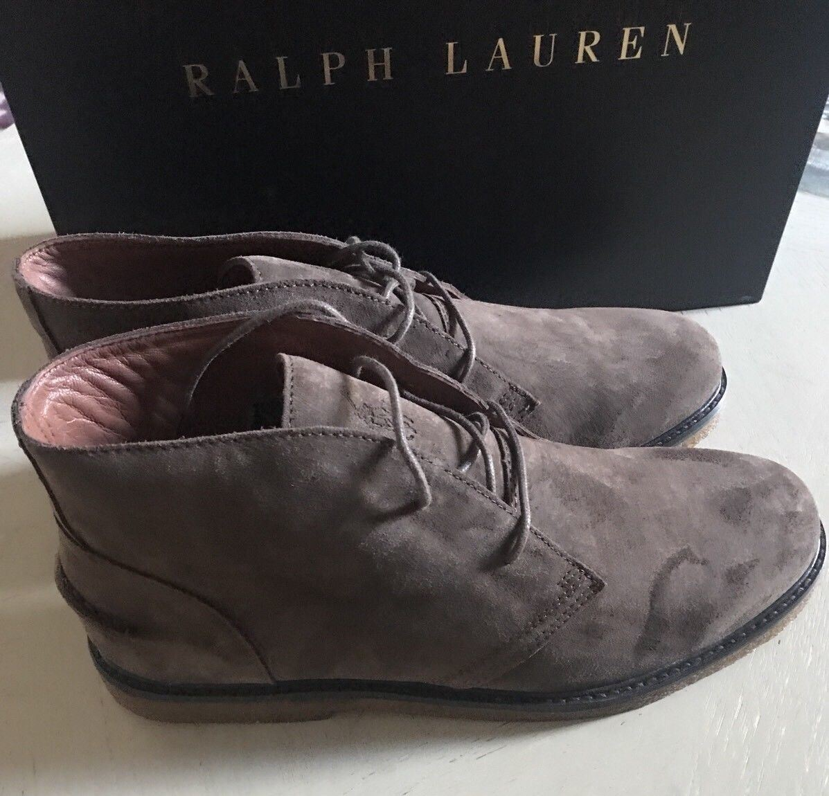 New $795 Polo Ralph Lauren Mens Suede Boots Shoes Dark Brown 10 US - BAYSUPERSTORE