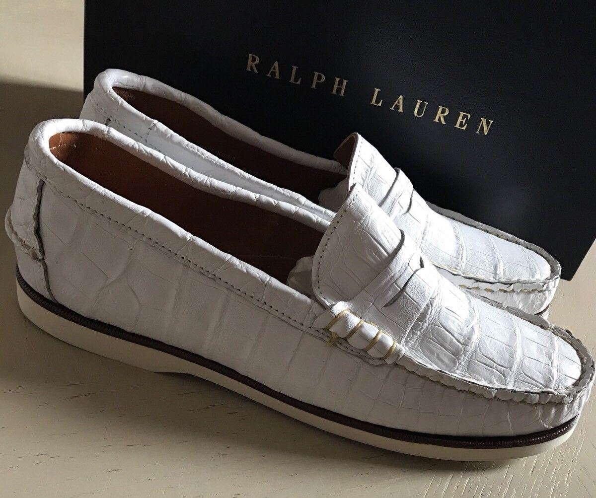 New $1250 Ralph Lauren Purple Label Mens Crocodile Loafer Shoes White 10 US - BAYSUPERSTORE