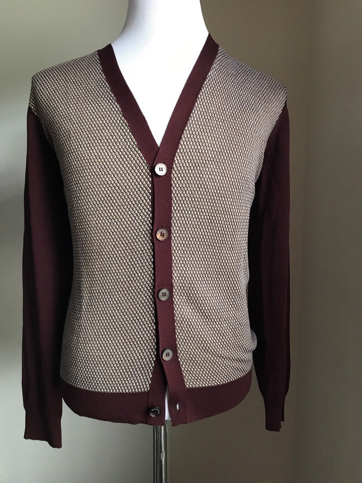 New $1195 Ermenegildo Zegna Cardigan Jacket Sweater Burgundy/Beige L US (52 Eur) - BAYSUPERSTORE