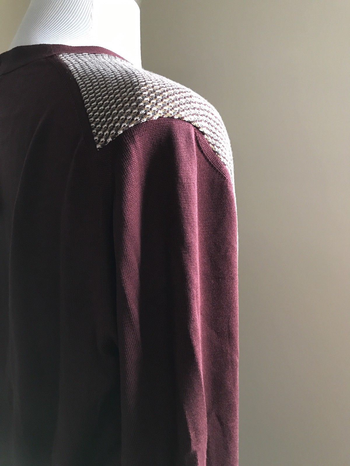 New $1195 Ermenegildo Zegna Cardigan Jacket Sweater Burgundy/Beige L US (52 Eur)