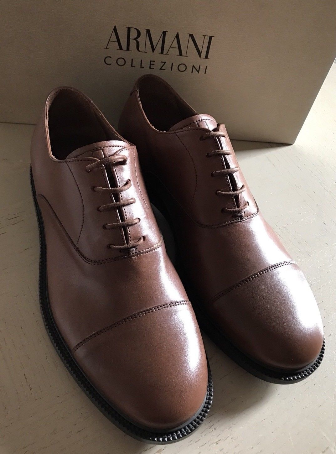 New $675 Armani Collezioni Mens Leather Oxford Shoes Brown 8 US X6C050 Italy - BAYSUPERSTORE