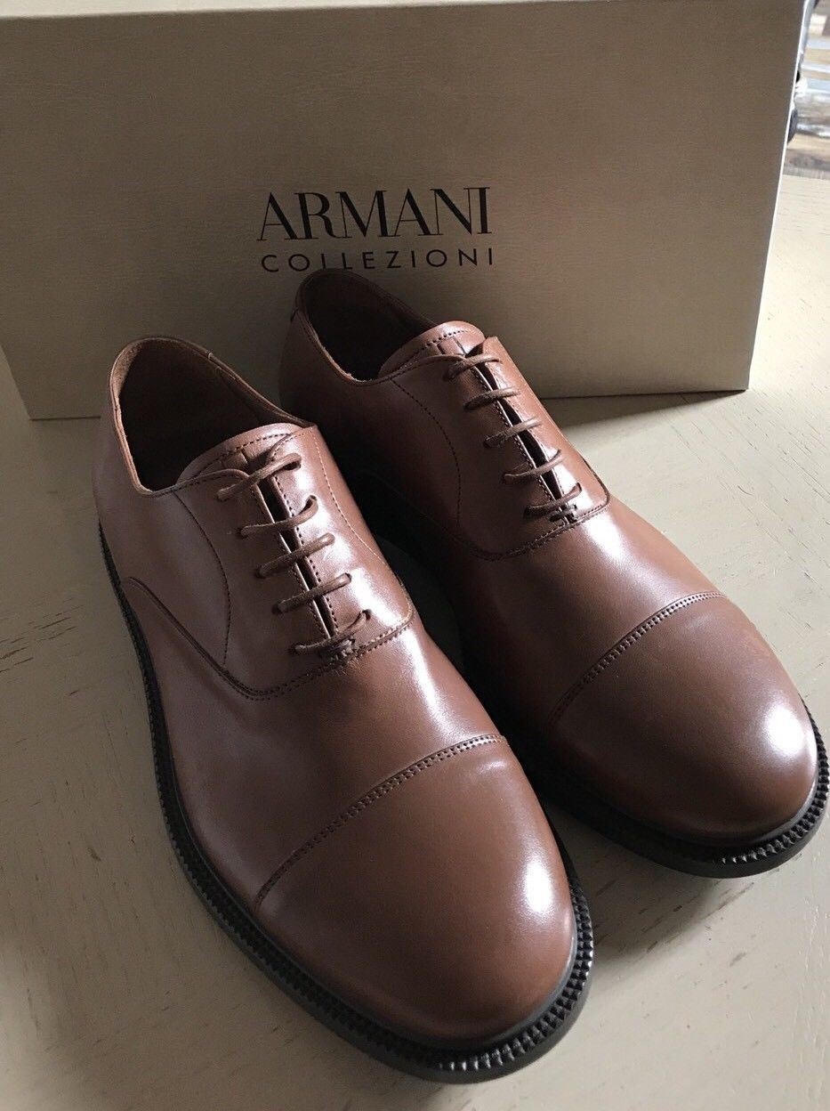 New $675 Armani Collezioni Mens Leather Oxford Shoes Brown 8.5 US X6C050 Italy - BAYSUPERSTORE