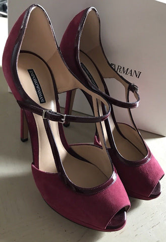 NIB $695 Emporio Armani Women's Sandal Shoes Red/Burgundy 8 US ( 38 Eu ) X3G130 - BAYSUPERSTORE
