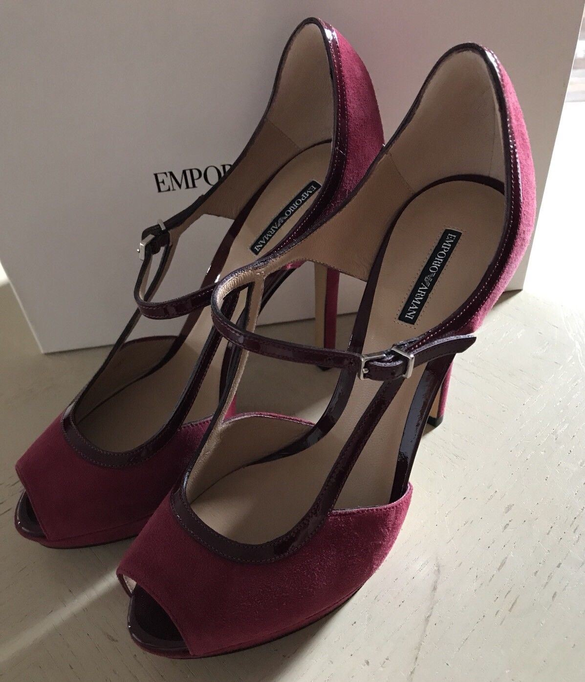 NIB $695 Emporio Armani Women's Sandal Shoes Red/Burgundy 6 US ( 36 Eu ) X3G130 - BAYSUPERSTORE