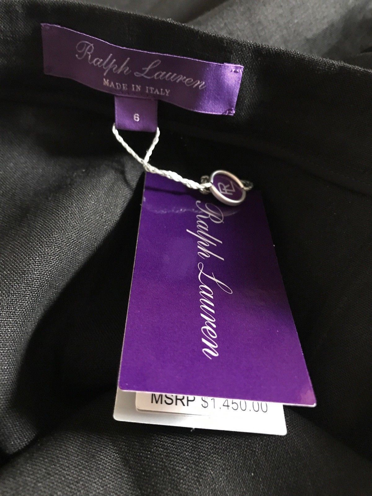 New $1450 Ralph Lauren Purple Label Women's Linen Skirt Black Size 6 Italy - BAYSUPERSTORE