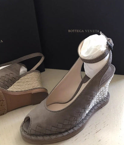 NIB $990 Bottega Veneta Women's Luxe Suede Shoes Sandal Brown/kaki 7 US