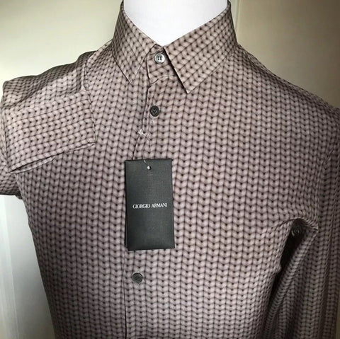 NWT $875 Giorgio Armani Silk Dress Shirt Brown 41/16  Italy