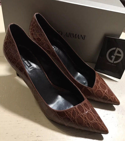 NIB $2995 Giorgio Armani Women Caiman Leather Shoes Burgundy 9 US ( 39 Eu )