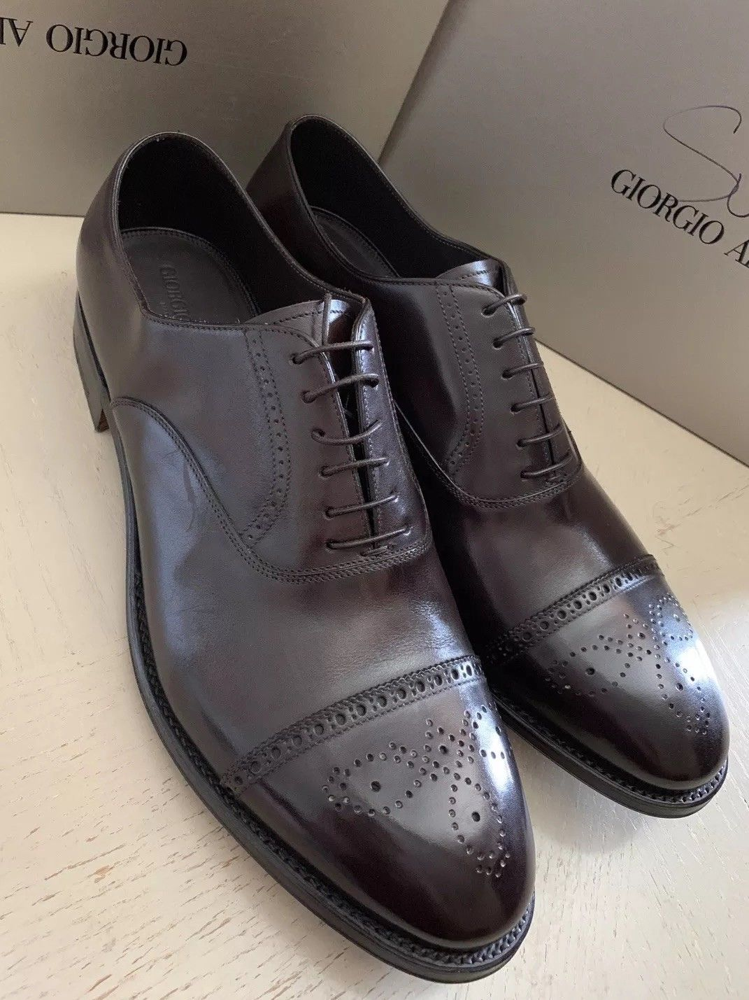 New $1495 Giorgio Armani Mens Leather Oxford Shoes DK Burgundy 12.5 US X2C482