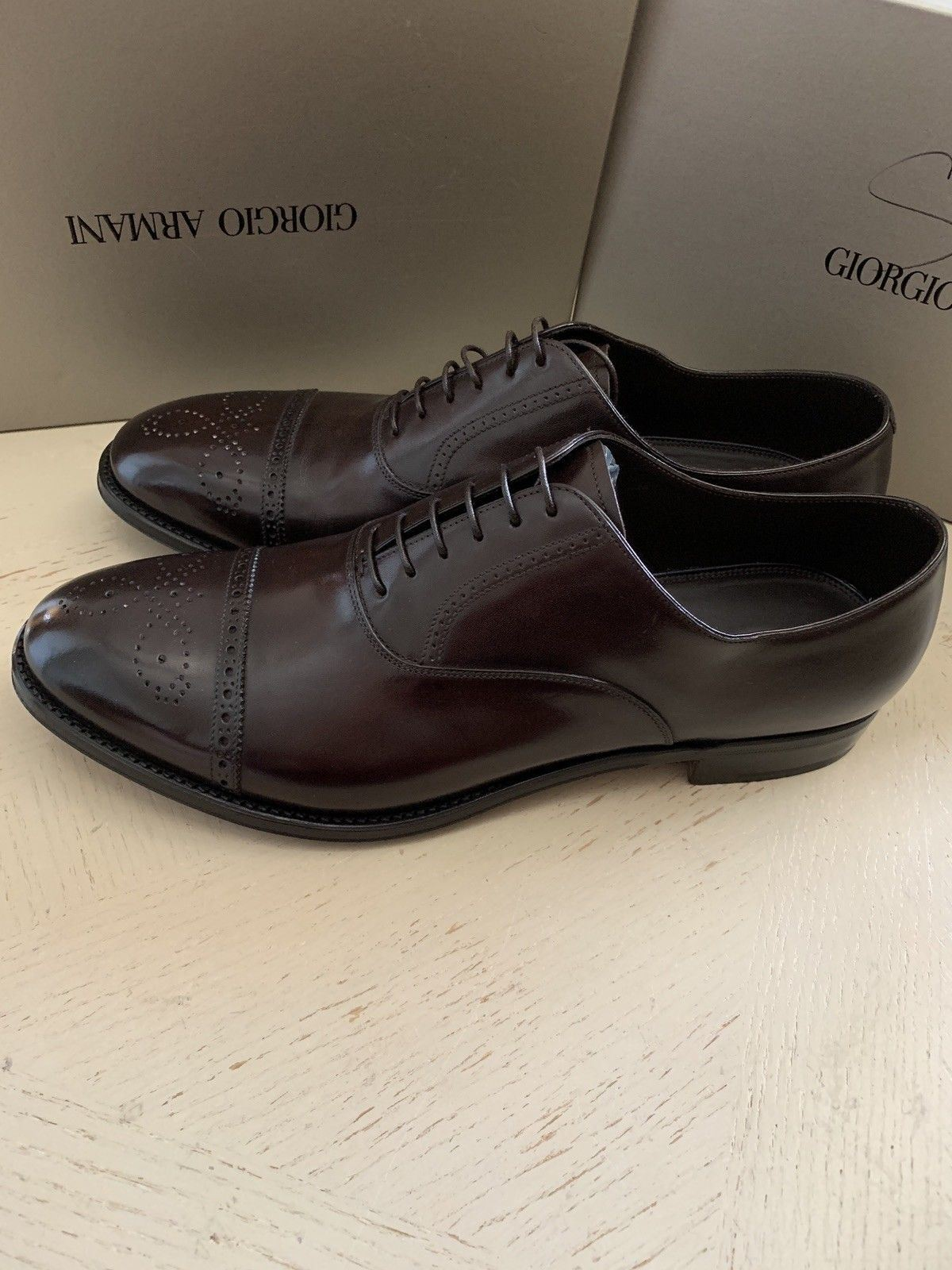 New $1495 Giorgio Armani Mens Leather Oxford Shoes DK Burgundy 9.5 US X2C482