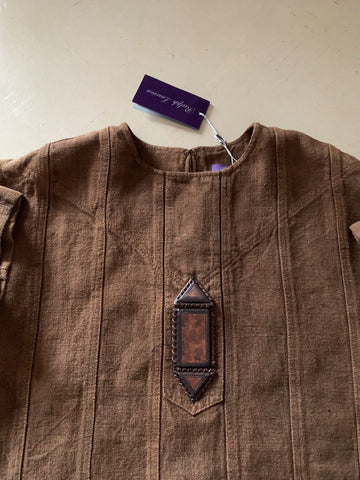 New $1350 Ralph Lauren Purple Label Women's Blouse Jacket Brown Size 2 Italy
