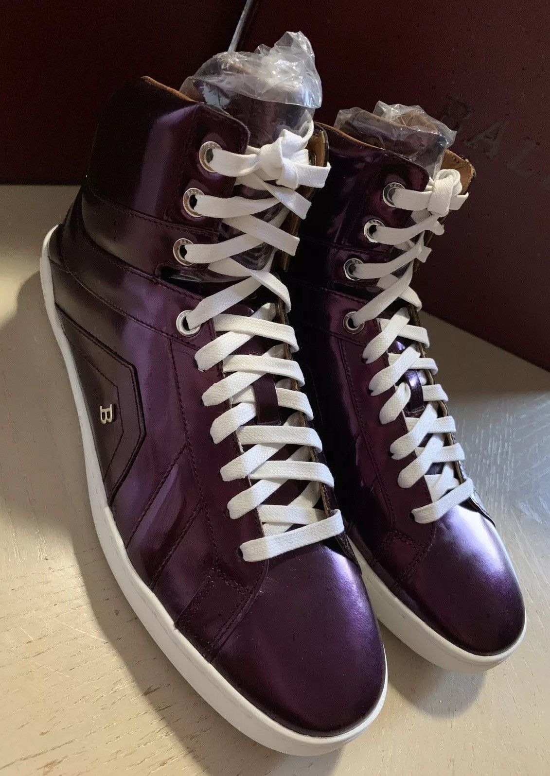 New $700 Bally Men Eticon Leather High-Top Sneakers Merlot 8.5 US Switzerland