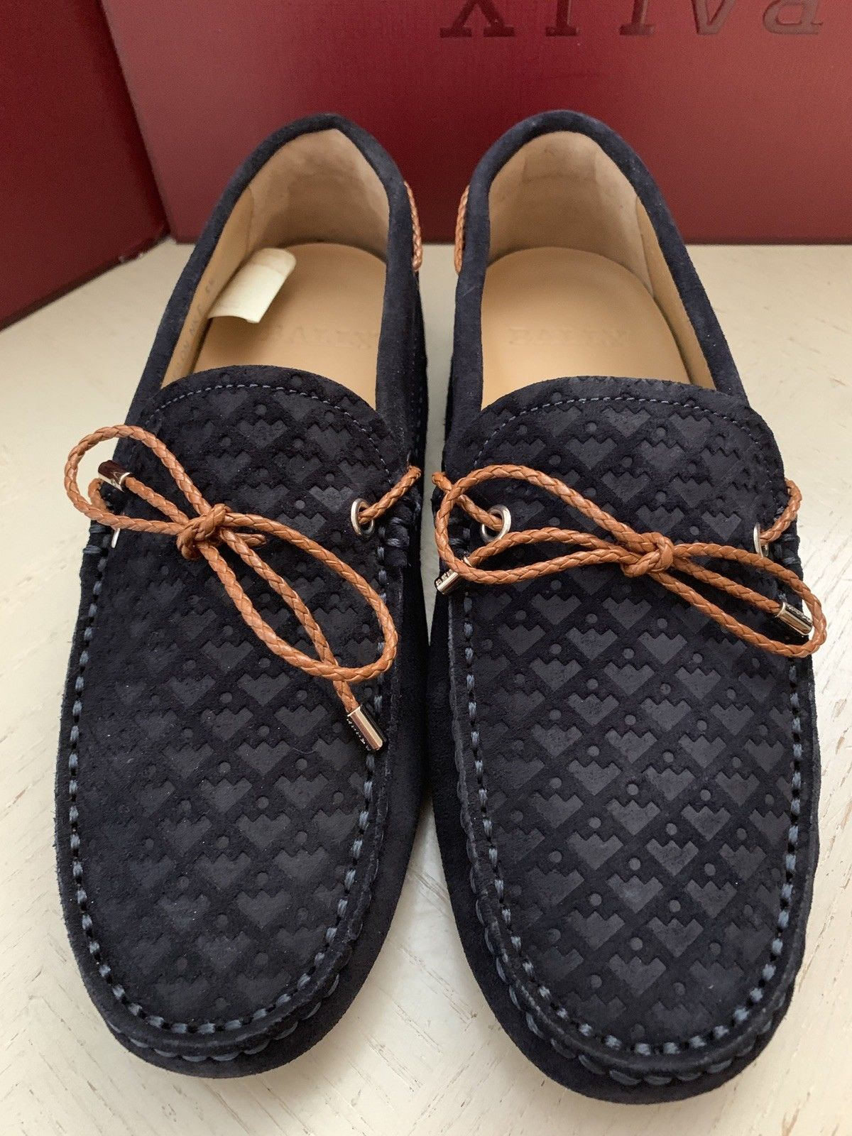 New $495 Bally Men Weilon Suide Driver Loafers Shoes Blue Navy 6.5 US Italy