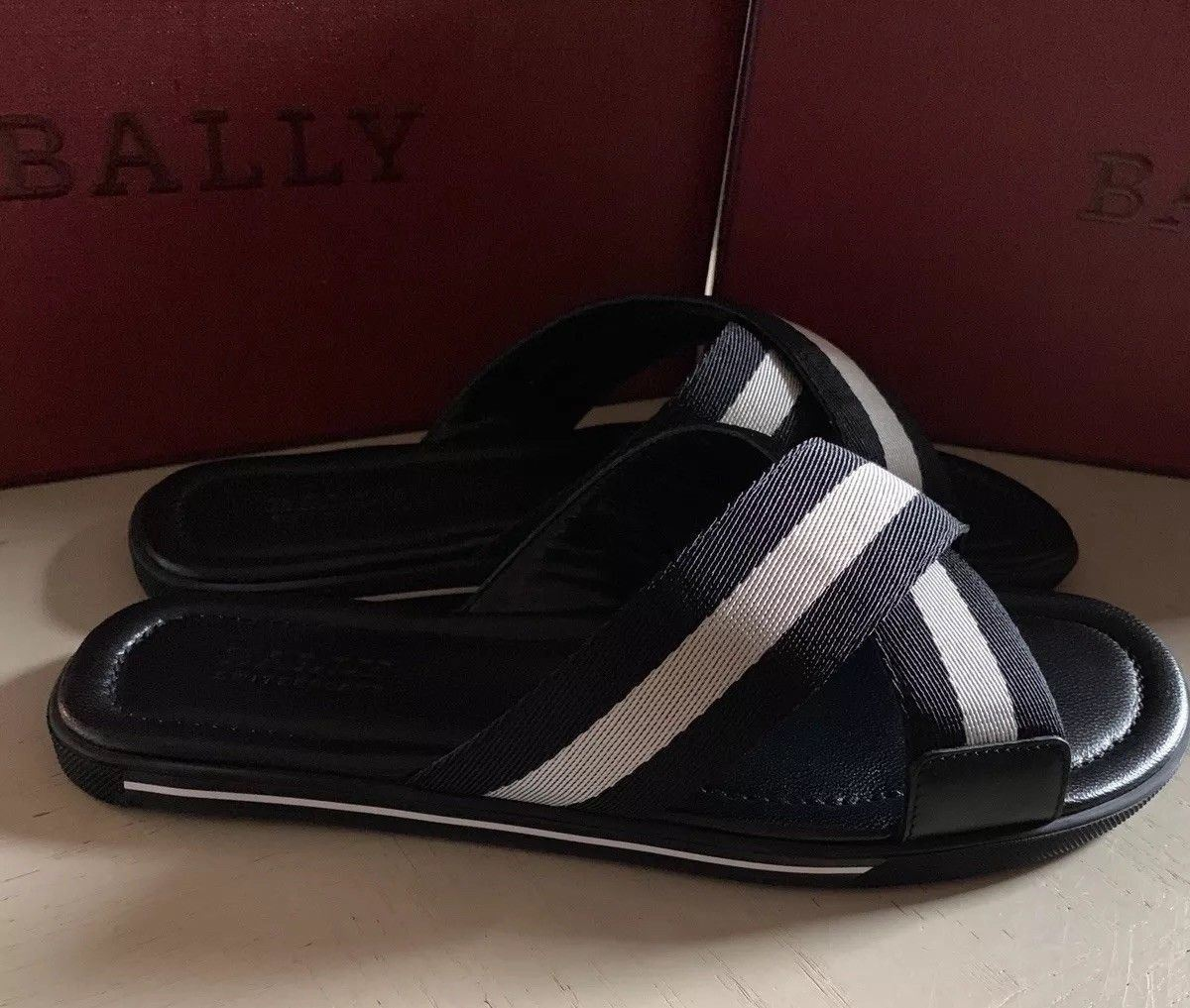 New $295 Bally Men Bonks Leather Canvas  Sandal Shoes Black 9 US Italy