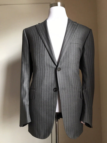 New $3795 ISAIA Napoli Wool Suit DK Gray Striped 46R US ( 56R Eu ) Italy