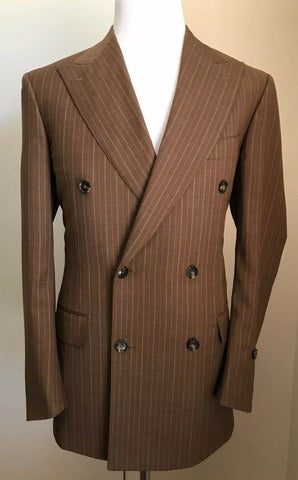 New $2795 Gianluca Isaia 120S Wool Suit DK Brown Striped 40R US ( 50R Eu ) Italy