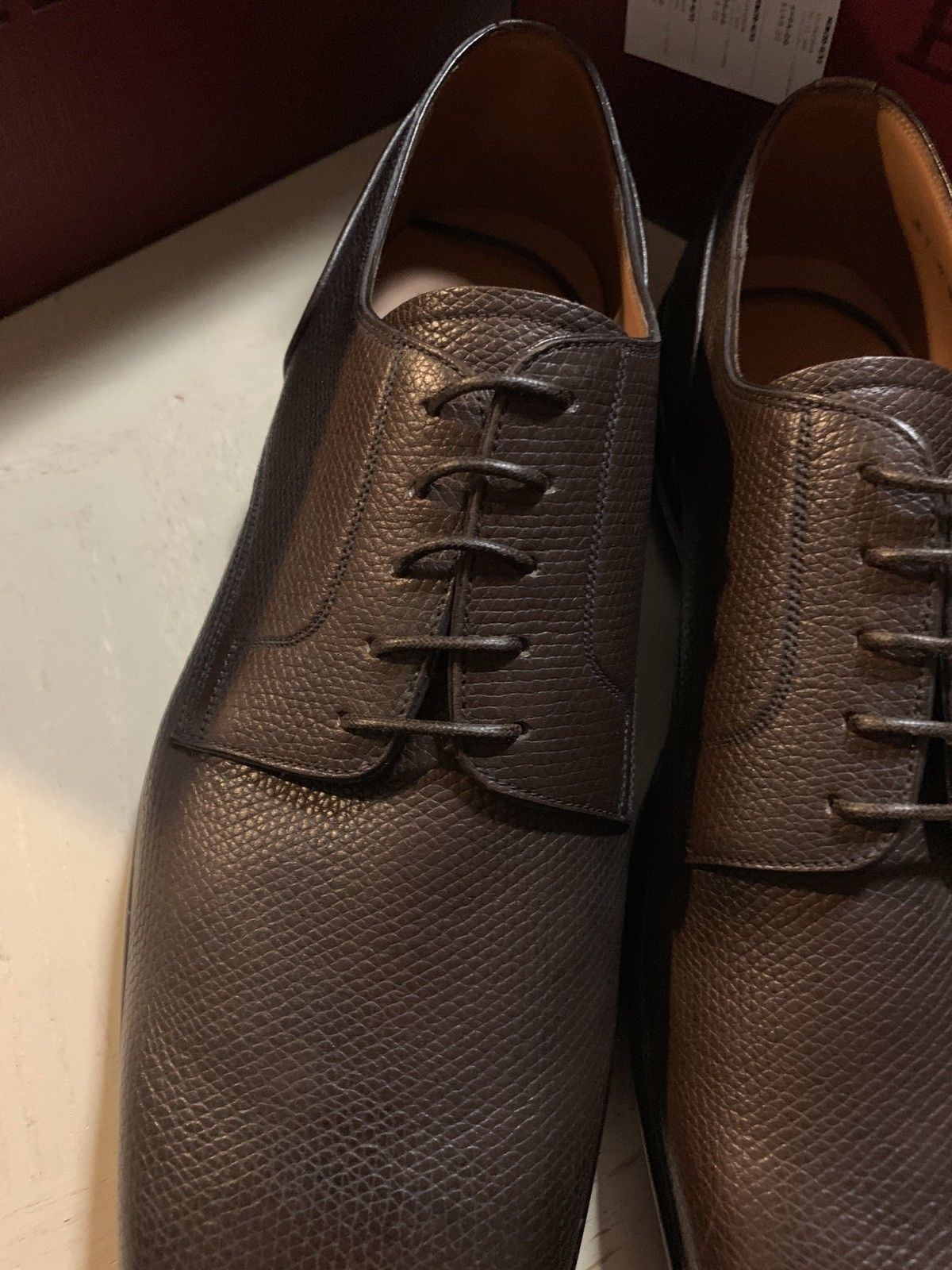 New $495 Bally Men Mincio Leather Shoes Brown 11 US ( 44 Eu ) Switzerland