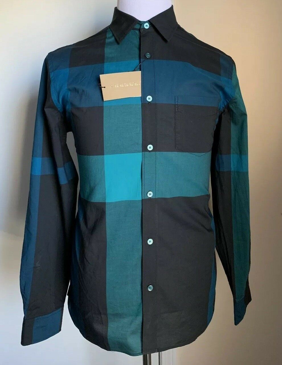 f65c23da NWT $295 Burberry Brit Mens Dress Shirt Dark Teal S US – BAYSUPERSTORE