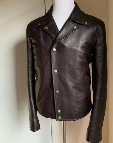 New $3880 Salvatore Ferragamo Mens Leather Jacket Coat DK Brown 40 US ( 50 Eu )