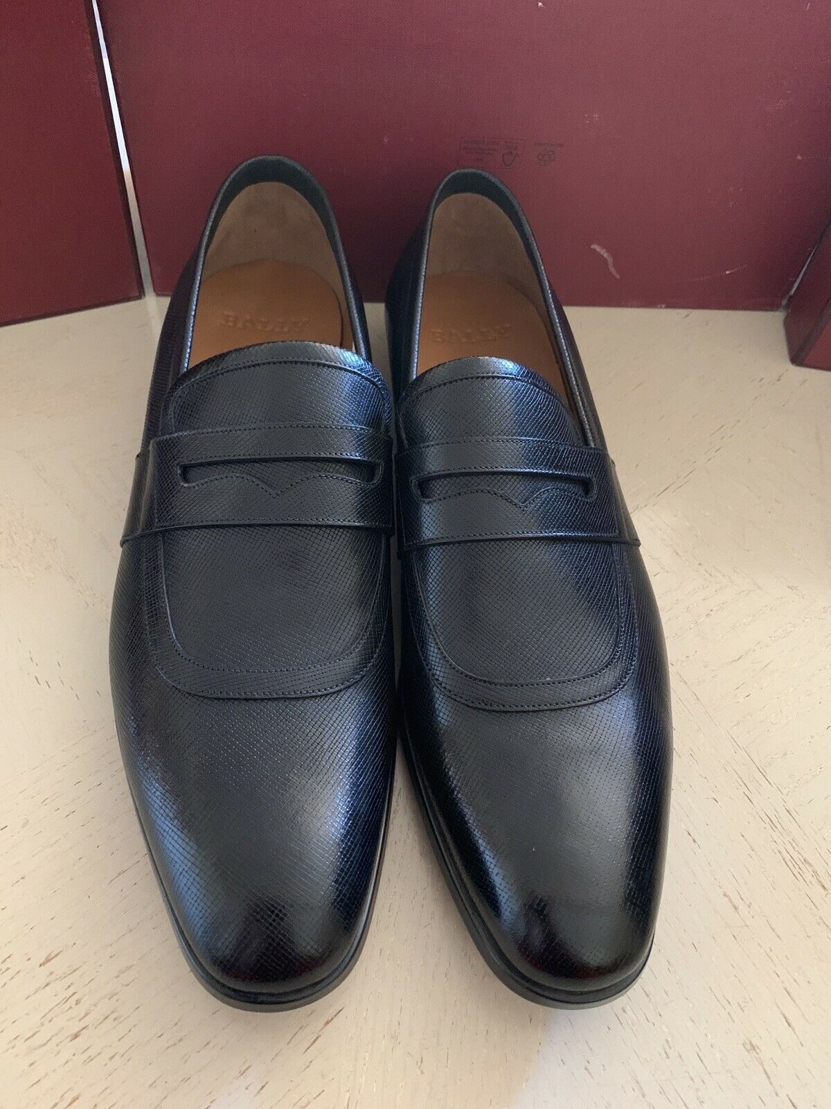 New $640 Bally Men Lahney Leather Loafers Shoes Black 12 US Switzerland