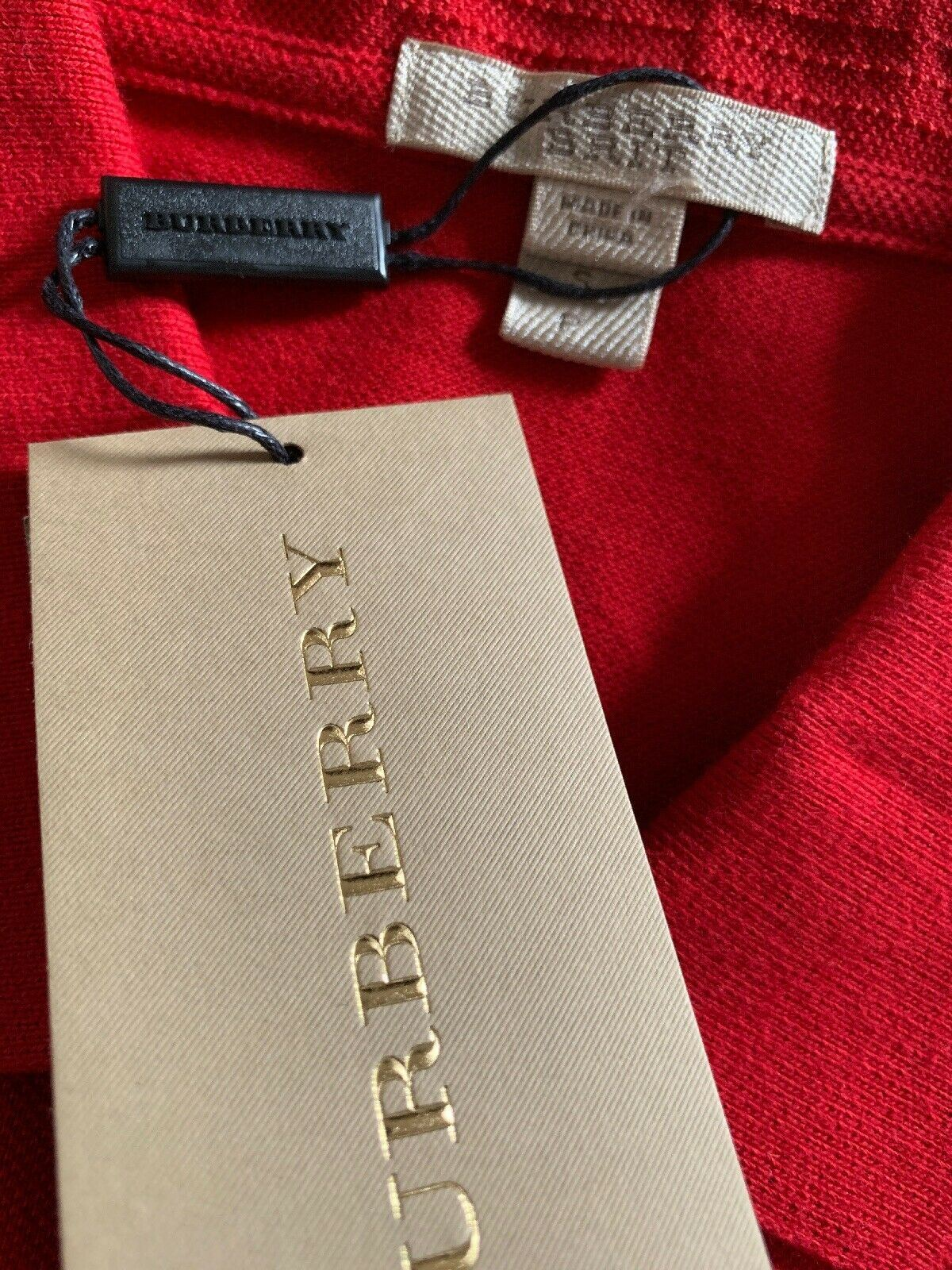 NWT $250 Burberry Brit Mens Polo Shirt Red Size S US