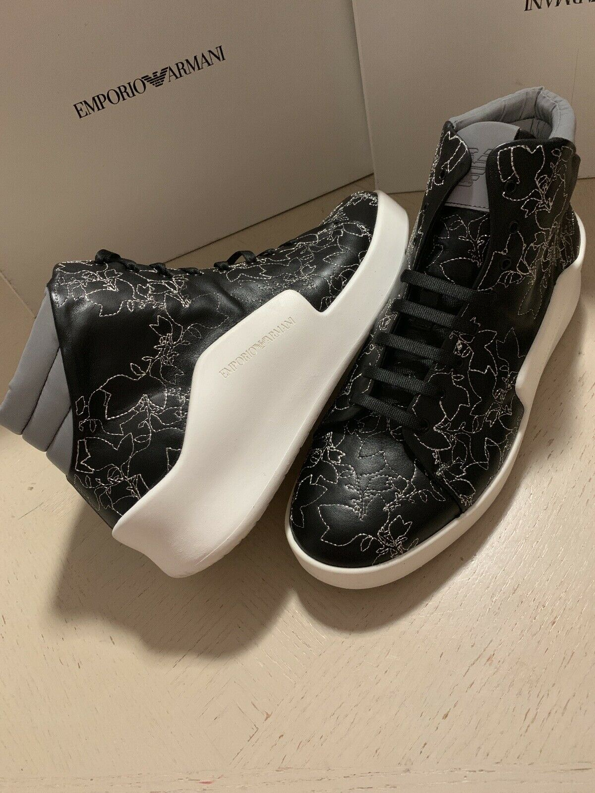 New $745 Emporio Armani Men Leather High Top Sneakers Black 11 US/10 UK X4Z063