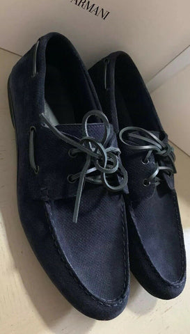 New $495 Emporio Armani Mens Suede Drivers Shoes DK Blue 11 US/10  UK