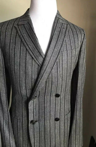 New $5085 Ermenegildo Zegna Couture Suit Blue Striped 42R US ( 52R Eur) Italy