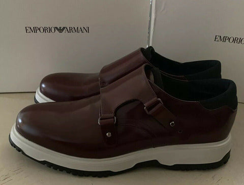 New $625 Emporio Armani Mens Extralight Shoes Burgundy 12.5 US/11.5 UK X4L047