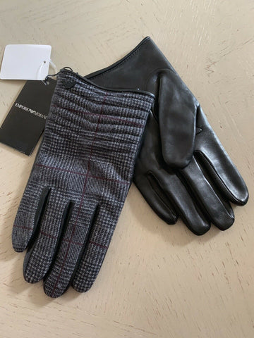 NWT $345 Emporio Armani Mens Leather/Wool Gloves Blak /Gray Size M Italy