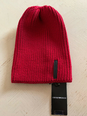 NWT $195 Emporio Armani Mens Beanie Hat Red Size L Italy