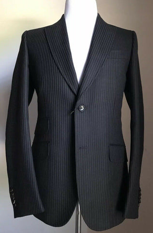 New $2875 Gucci Mens Wool Suit Black Striped 38R US ( 48R Eu) Switzerland