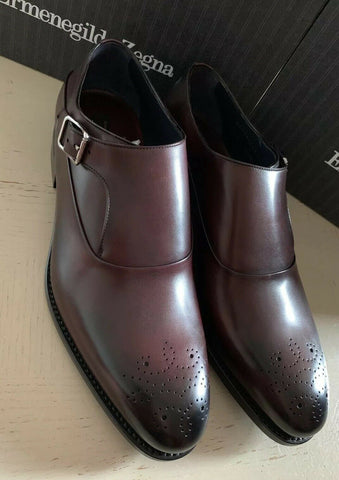 New $1350 Ermenegildo Zegna Couture Monk Brogues Leather Shoes Burgundy 11 US