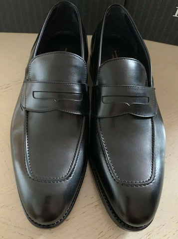 New $1295 Ermenegildo Zegna Couture Leather Loafers Shoes Black 10.5 US Italy