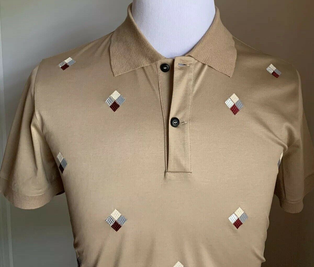 NWT $945 Giorgio Armani Mens Polo Shirt LT Brown L US ( 52 Eu ) Italy