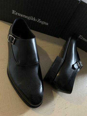 New $1350 Ermenegildo Zegna Couture Monk Brogues Leather Shoes Black 8.5 US Ita