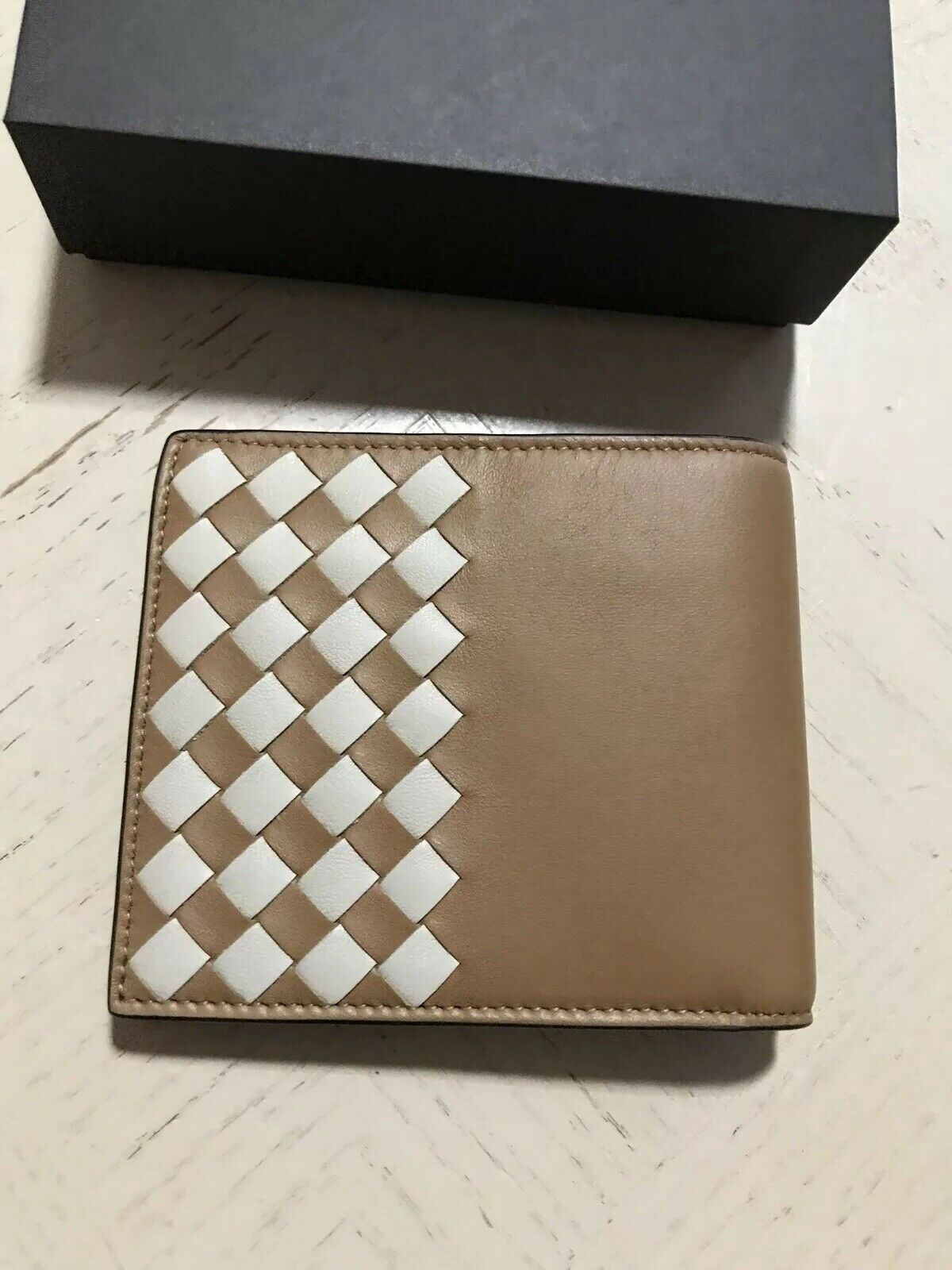 New Bottega Veneta Mens Wallet Camel/Cream  113993 Italy
