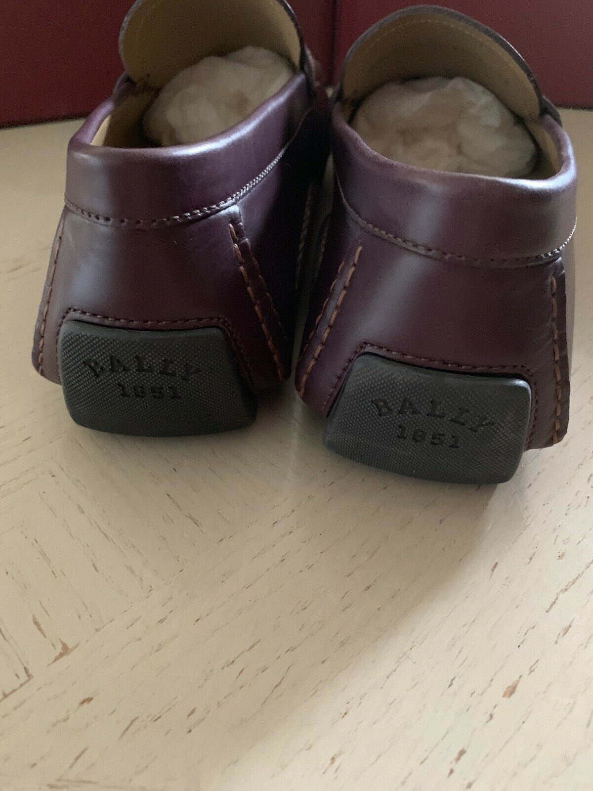 New $550 Bally Men Waltec Leather Driver Loafers Shoes DK Burgundy 8 US Italy
