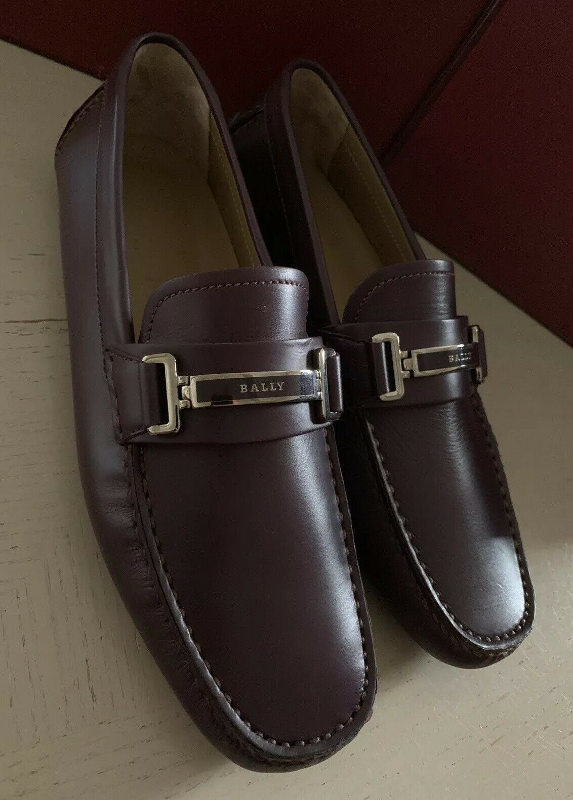 New $590 Bally Men Drulio Leather Driver Loafers Shoes DK Burgundy 8 US Italy